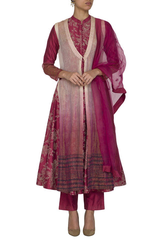 Burgundy Anarkali Kurta with Pants - devnaagri