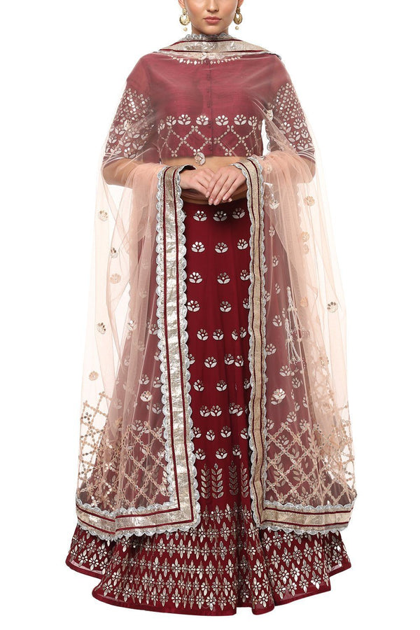Burgundy Gota Patti Embroidered Lehenga with Net Dupatta - devnaagri