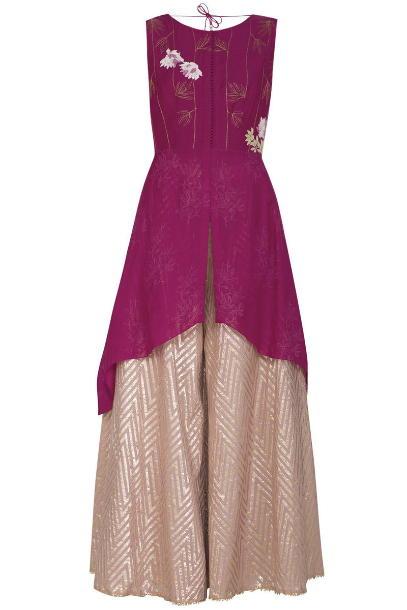 Burgundy Muslin Kurta with Woven Sharara - devnaagri