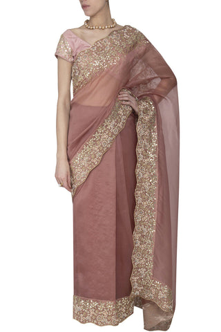 Burgundy Saree with Raw Silk Blouse - devnaagri