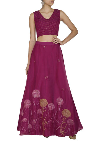 Burgundy Skirt With Corset Blouse - devnaagri