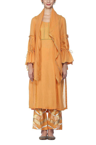 Burnt Orange Kurta With Flared Pants - devnaagri