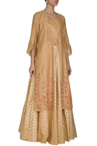 Caramel Woven Skirt with Jacket - devnaagri