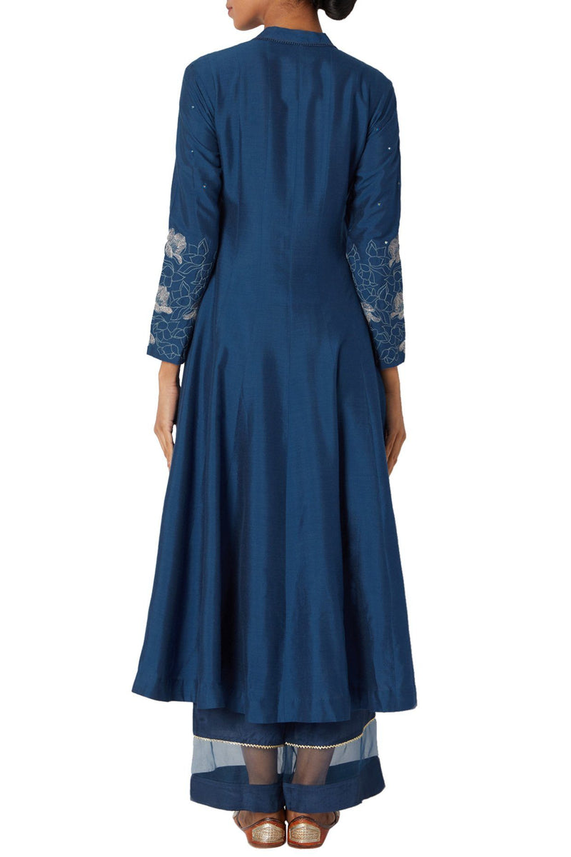 Cobalt Blue Cotton Silk Blend Kurta Set