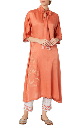 Coral Asymmetric Kurta With Printed Shantoon Pants