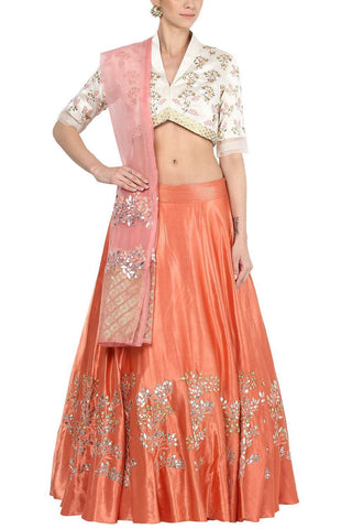 Coral Embroidered Lehenga with Ivory Top - devnaagri