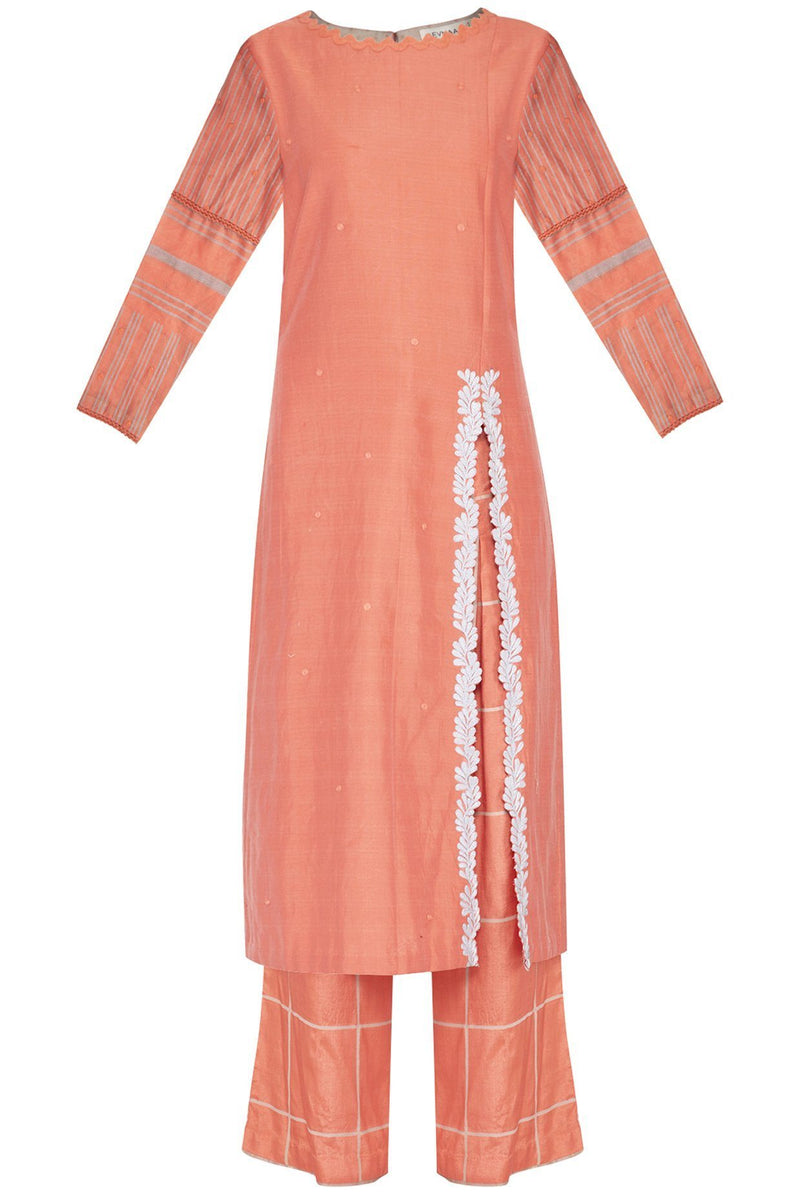 Coral Straight kurta with Block Printed Pallazo - devnaagri