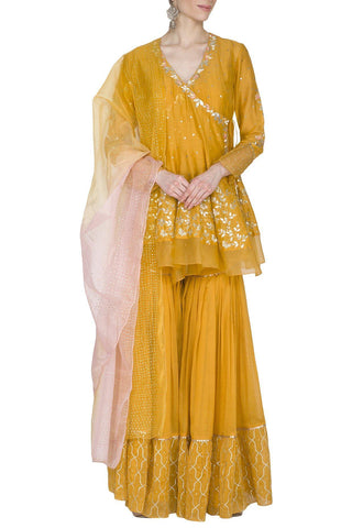 Corn yellow Angrakha Kurta with Sharara - devnaagri