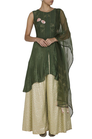 Dark Green Muslin Kurta with Woven Sharara - devnaagri