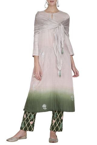 Dark Green Ombre Kurta with Pants - devnaagri