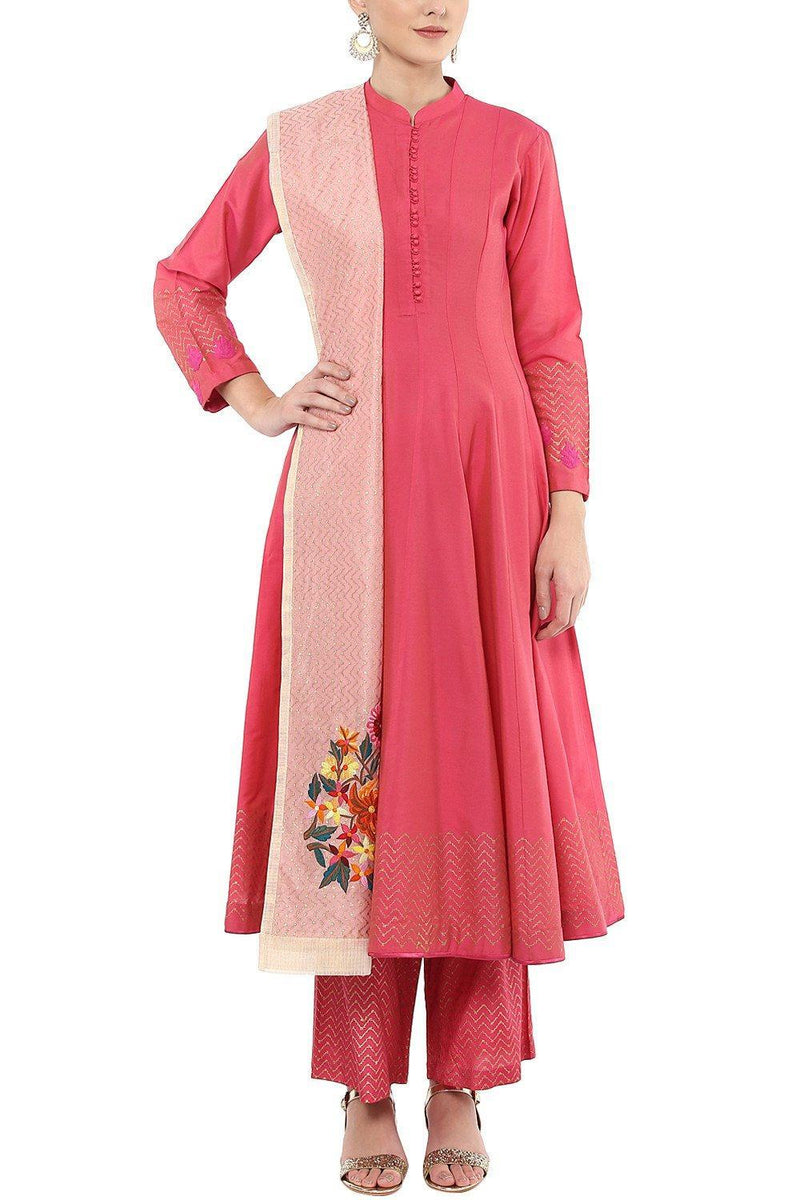 Dark Pink Embroidered Anarkali Set with Pallazo Pants Set - devnaagri