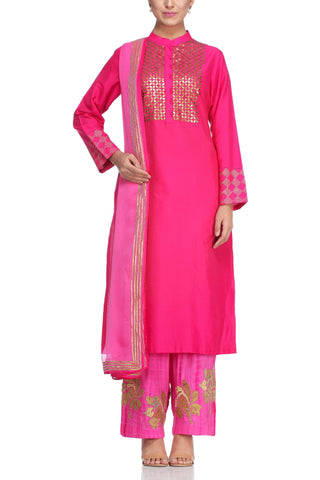 Dark Pink Kurta with Metal Embroidery Set - devnaagri