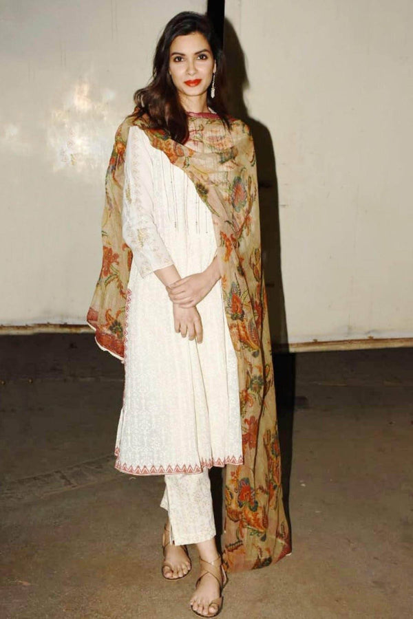 Diana Penty In Off-White/Red Straight Kurta with Slim Pants
