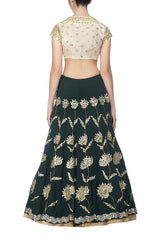Emerald Green Lehenga with Golden Blouse - devnaagri