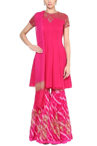 Fuchsia Pink Gota Patti Embroidered Gharara Set - devnaagri
