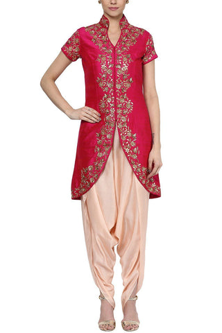 Fuchsia Pink Jacket with Dhoti Pants Set - devnaagri