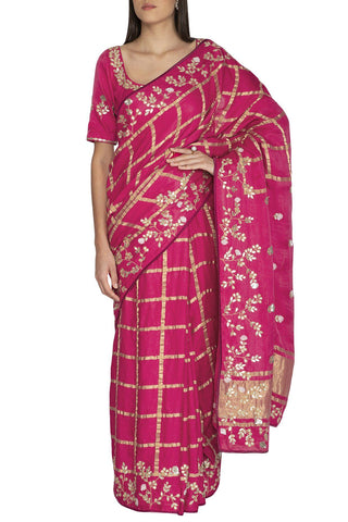 Fuschia Gajji Check Saree - devnaagri