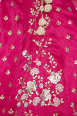 Fuschia Panelled Gajji Lehenga with Self Gajji Blouse - devnaagri