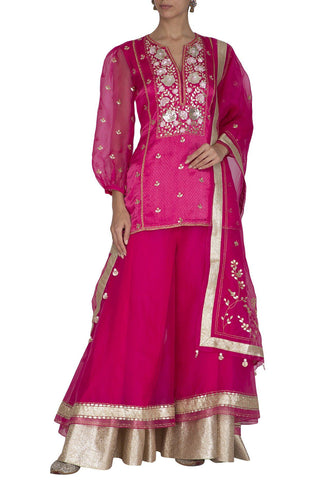 Fuschia Sharara Kurta and Dupatta - devnaagri