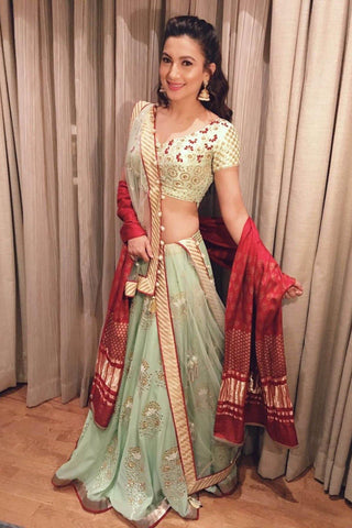 Gauhar Khan In Mint Green Gota Patti Lehenga with Green Embroidered Blouse