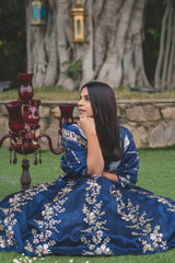 Gopalika Virmani In Twilight Blue Lehenga & Dupatta with Ivory Blouse