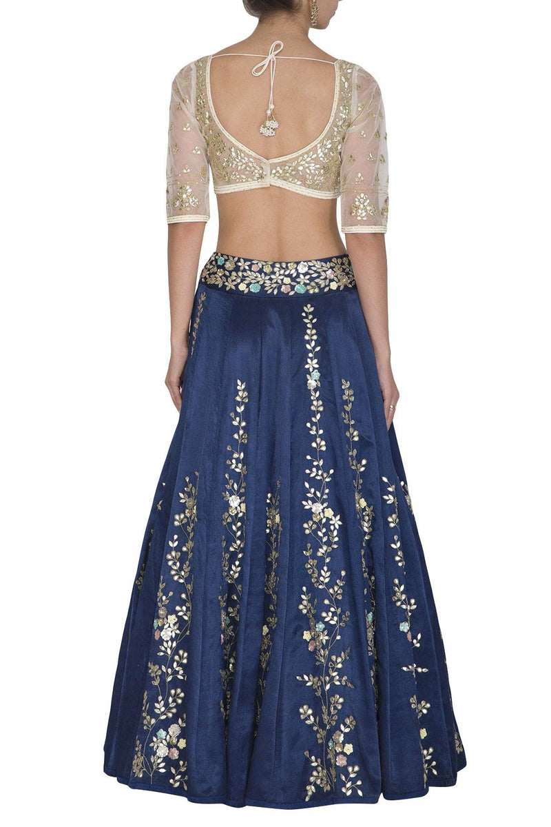 Twilight Blue Lehenga & Dupatta with Ivory Blouse - devnaagri