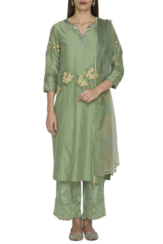 Green Chanderi Kurta with Shantoon Pallazo Set