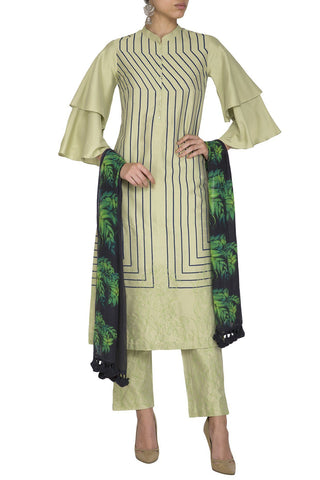 Green Cotton Silk Kurta with Pants - devnaagri