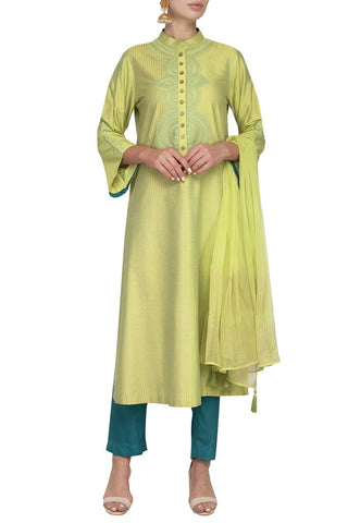 Green Cotton Silk Kurta with Slim Pants - devnaagri