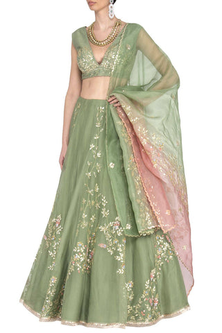 Green Georgette Lehenga with Raw Silk Blouse - devnaagri