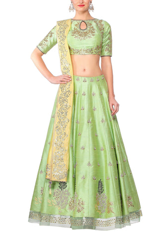 Green Lehenga with a Yellow Dupatta Set - devnaagri