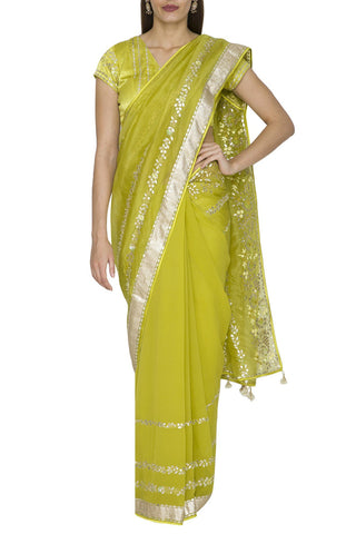 Green Organza Saree