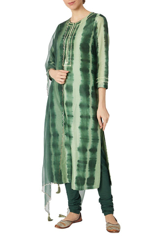 Green Tie And Dye Kurta