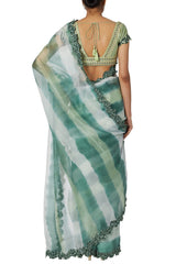Prerna Goel in Green Tie And Dye Sheer Organza Saree
