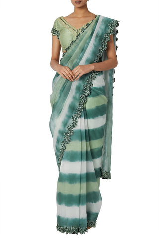 Green Tie And Dye Sheer Organza Saree