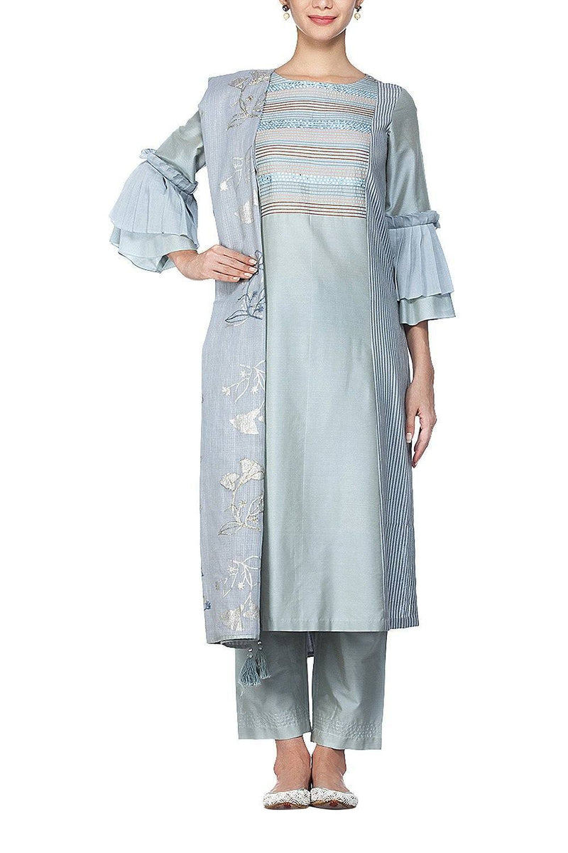 Grey Blue Suit with Pallazo Pants Set - devnaagri