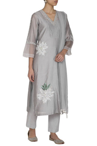 Grey Chanderi Straight Kurta With Pants - devnaagri