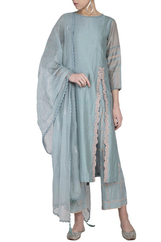Grey Straight Kurta with Block Printed Pallazo - devnaagri