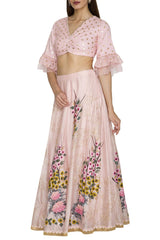 Hand Painted Pink Skirt with Zari Blouse