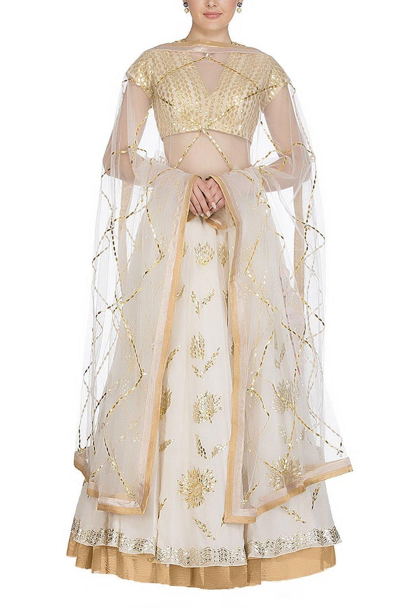 Ivory Lehenga with Golden Blouse - devnaagri