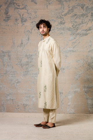 Pista Diamond Pin Tuck Kurta Set