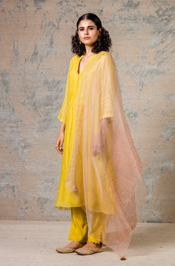 Yellow Chanderi Kurta Set
