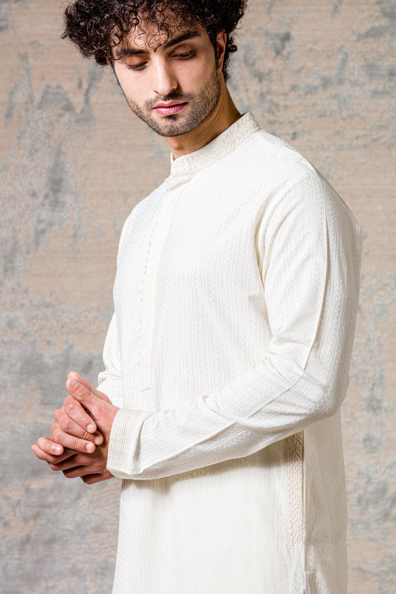 Ivory Cotton Silk Kurta Set