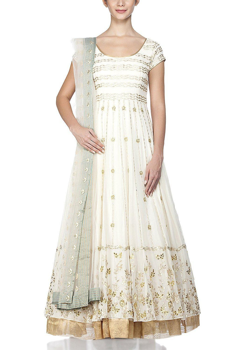 Ivory Anarkali with lycra Churidar - devnaagri