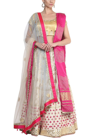 Ivory and Fuchsia Gota Patti Embroidered Lehenga with Double Dupatta - devnaagri