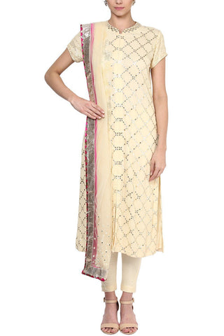 Ivory Checkered Gota Patti Work Straight Kurta and Pants Set - devnaagri