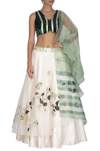 Ivory Hand Paint Lehenga with Emerald Green Blouse and a Aqua Tie & Dye Dupatta - devnaagri