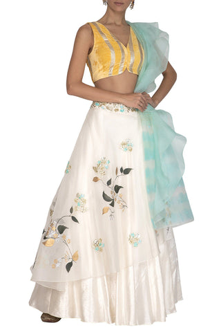 Ivory Hand Paint Lehenga with Yellow Blouse and A Aqua Tie & Dye Dupatta - devnaagri