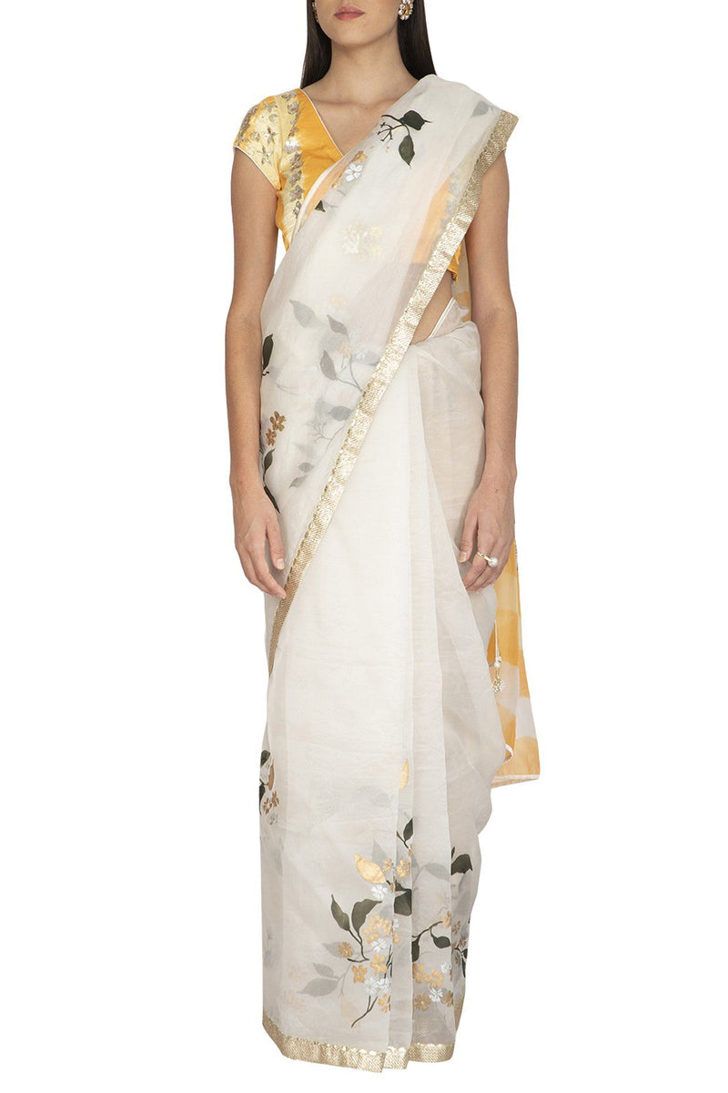 Ivory Hand Painted Saree with Yellow Tie & Dye Gajji Silk Blouse - devnaagri