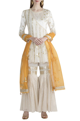Ivory Kurta And Sharara With Saffron Dupatta